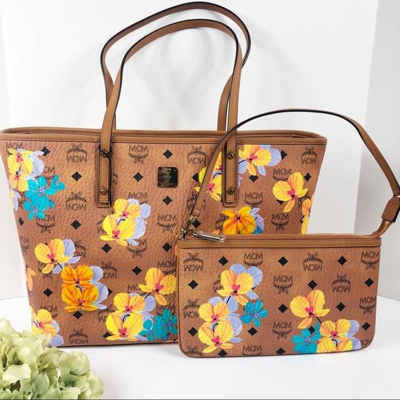 77fd87c4d4 MCM top zip medium tote pouch floral brown NWT